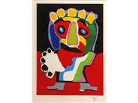 untitled (figure with green nose) by karel appel