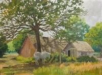 a summer landscape with farm buildings by edward burns quigley