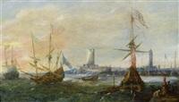 marine vor einem fremden hafen by andries van eertvelt