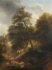 jäger zu pferd und hundemeute in bewaldeter landschaft by jacques-laurent agasse