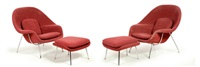 pair of womb chairs (2 works in 4 parts) by eero saarinen