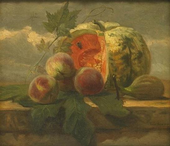 a still life with a melon peaches and a fig by simon saint jean