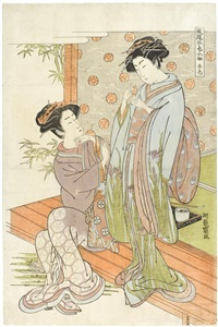akairo (oban tate-e from the series furyu go shiki kosode) by isoda koryusai