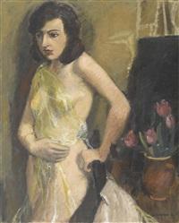 interieur mit stehendem weiblichem akt und tulpen by adolf holzmann