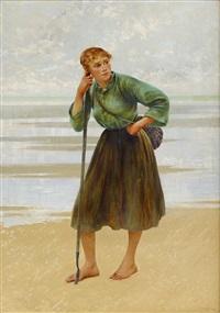 musselplockerska på stranden i bretagne by august vilhelm nikolaus hagborg