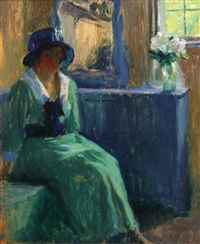 woman in an interior by bernhard gutmann
