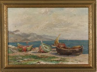 coastal scene with boats along the shore by peter alfred gross