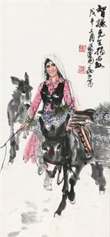 赶集图 立轴 设色纸本 by huang zhou