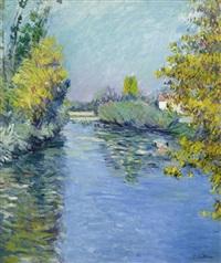 petit bras de la seine, effet d'automne by gustave caillebotte