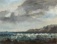 coastal landscape with stormy sea (collab. w/worksho) by gustave courbet