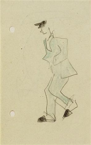 mann im blauen anzug mit hut verso mann mit regenschirm by lyonel feininger