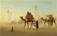beduinen in der wüste mit kamel by charles théodore (frère bey) frère