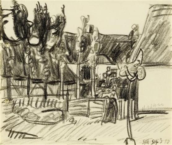 ohne titel woman in the village of neppermin by lyonel feininger