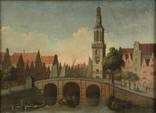 view of the singel with the jan roodenpoortstoren, amsterdam by gerrit adriaensz berckheyde