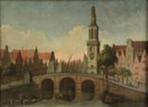 view of the singel with the jan roodenpoortstoren amsterdam by gerrit adriaensz berckheyde