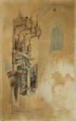 zijkapel met laat gotisch altaarblad in de st-leonarduskerk te zout-leeuw by johannes bosboom