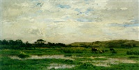 an extensive landscape with cows watering at a marsh in the foreground and figures beyond by emmanuel demoye