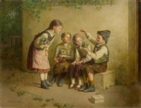 four children with a frog in a glass by edmund adler