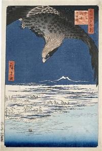 ôban-tate-e holzschnitt aus der serie meisho edo hakkei (100 ansichten von edo), titel fukagawa susaki jûmantsubo, verlag uoya, zensursiegel aratame, datumssiegel/5, 2 by ando hiroshige
