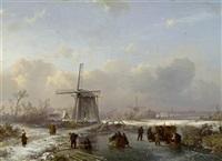 winterlandschaft mit einem zugefrorenem kanal und figuren by pieter lodewijk francisco kluyver and salomon leonardus verveer