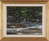 fisherman at edge of river by tom linker