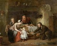 familie in der küche mit ersten gehversuchen des kindes by theodore bernard de heuvel