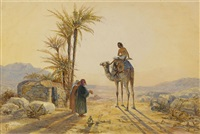 kamelryttare och beduiner i öknen by frederick goodall