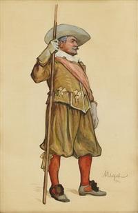 officer i 1600-talsdräkt by albert edelfelt