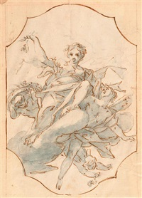 auf wolken schwebende sibyllen und putti (+ another study, verso) by antonio consetti