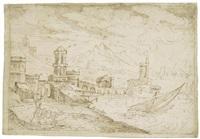 blick auf eine hafenstadt mit segelschiffen by kerstiaen de keuninck