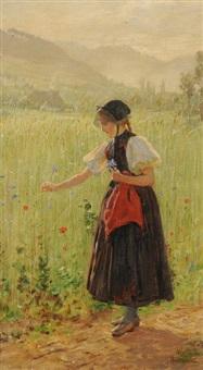 junge gutacherin am ährenfeld by wilhelm g. hasemann