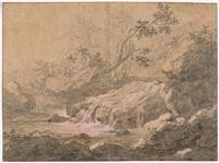 studie zu einer landschaft mit gebirgsbach (+ landschaft mit antikem viadukt und gewässer; 2 works) by balthasar anton dunker