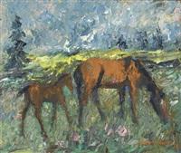 pferd mit fohlen auf einer wiese by walter hagen