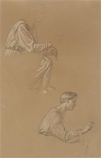 2 sheets: 1kneeling young male nude 2 the same, detail by carl gottlieb peschel