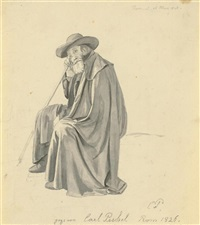 seated old man with drape by carl gottlieb peschel