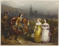 zwei reiter grüssen zwei damen mit mohr by hippolyte lecomte