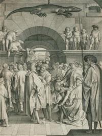 versammlung von männern, darüber ein aufgehängtes krokodil by nicolaes de bruyn