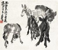 五驴图 镜心 水墨纸本 by huang zhou