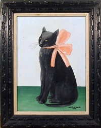 cat with pink bow by vestie davis