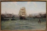 blick in den hamburger hafen mit auslaufendem segelschiff by alfred jensen