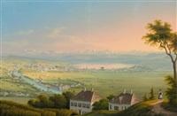 zürich von der waid mit blick über die stadt und den see auf die gebirgskette by johann ludwig (louis) bleuler