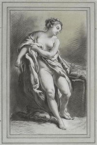 nu au drape (after francois boucher) by louis marin bonnet