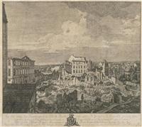 die ruinen der pirnaischen vorstadt mit dem palais fürstenhof (vue des ruines des fauxbourgs de dresde, entre autres, de la maison de fürstenhof) by bernardo bellotto