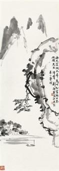松壑泛舟 镜心 水墨纸本 by liu haisu
