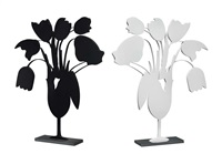 white and black tulips and vase by donald sultan