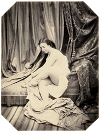 sitting female nude on chaise longue by joseph auguste belloc