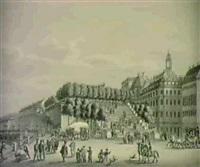haupteingang zu den garten auf der terrasse des bruhlschen palais zu dresden. by ernst arnold
