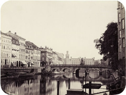 burg straße lange brücke with view of mühlendamm berlin by leopold ahrendts