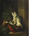 a watchful eye by henriette ronner-knip