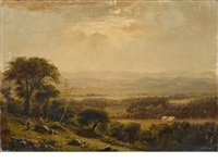 an extensive landscape with figures in the foreground by jasper francis cropsey